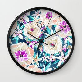 TROPICAL SPLENDOR Watercolor Floral Wall Clock