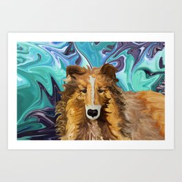The Inquisitive Collie of the Psychedelic Dog Parade Art Print