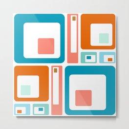 Retro Mid Century Modern Colorful Squares Metal Print