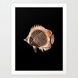 Fish nautical coastal in black background Art Print