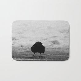 Crow stroll snow Bath Mat