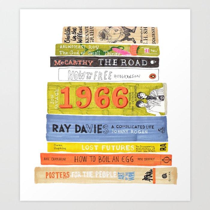 Reading Pile Art Print