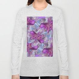 PURPLE AMETHYST & QUARTZ CRYSTALS FEBRUARY GEMS Long Sleeve T-shirt