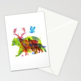 Colorful watercolors wild animals overprint Stationery Cards