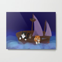 Feline Seafarers Metal Print