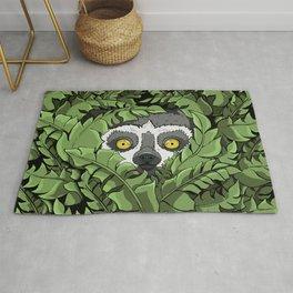 Lemur hiding in plants Rug