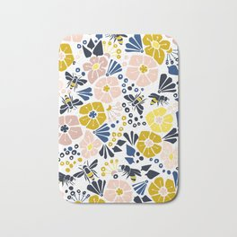 Flower meadow with bees Bath Mat