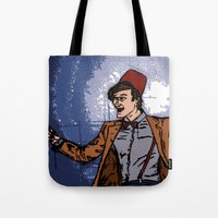 fez Tote Bags featuring ain't never gonna do it without the fez on by Melvin Pena