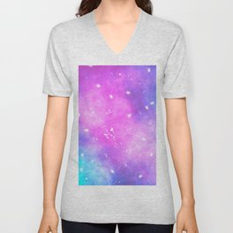 Hand painted pink purple turquoise watercolor nebula space glitter stars Unisex V-Neck