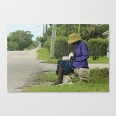 Eleutheran woman reading the Bible on the side of a street Canvas Print