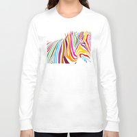 zebra Long Sleeve T-shirts featuring Zebra by graphicinvasion