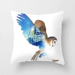 Flying night cute owl Throw Pillow