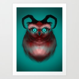 Red Neon Owl Art Print