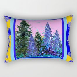 YELLOW-BLUE WINTER SNOWFLAKES  FOREST TREE  ART Rectangular Pillow