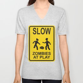 Slow Zombies at Play Unisex V-Neck