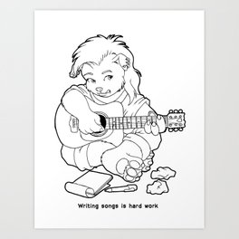 "The Glitter Dragons: ""Writing Songs is Hard Work""  Art Print"
