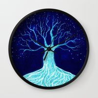 frozen Wall Clocks featuring Frozen by Nancy Woland