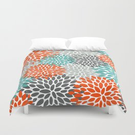 Floral Pattern, Abstract, Orange, Teal and Gray Duvet Cover