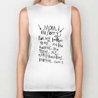 toddler Biker Tanks featuring Sorry for my toddler years by Tonya Doughty