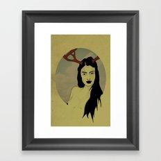 Girl With Antlers Framed Art Print