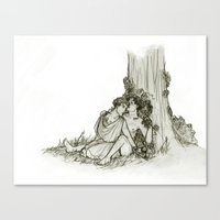 heroes of olympus Canvas Prints featuring Olympus by InkyThoughts