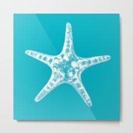 Sea star in blue Metal Print