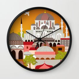 Istanbul, Turkey - Skyline Illustration by Loose Petals Wall Clock