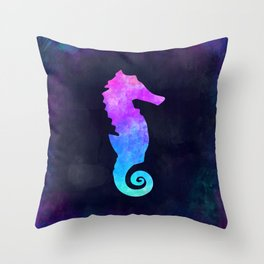 SEAHORSE IN SPACE // Animal Graphic Art // Watercolor Canvas Painting // Modern Minimal Cute Throw Pillow
