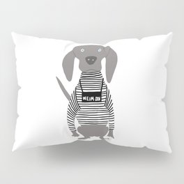 Weim Jailbird Grey Ghost Weimaraner Dog Hand-painted Pet Drawing Pillow Sham