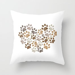 Made of heart doodle brown paw print Throw Pillow