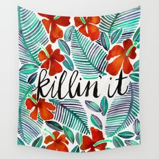 Killin' It – Tropical Red & Green Wall Tapestry