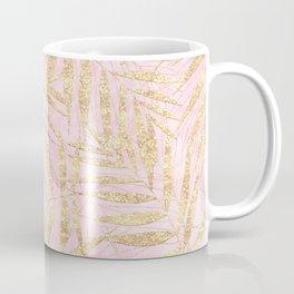 Elegant Gold Tropical Palm Leaves Pink Design Coffee Mug