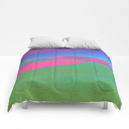 Psychedelic Sand Dunes - Pink Green Blue Comforters