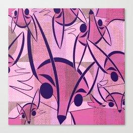 Pink Fox Retro Print Canvas Print
