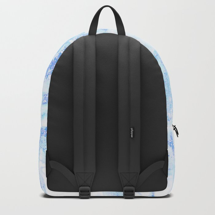 White Marble with Pastel Blue Purple Teal Glitter Backpack