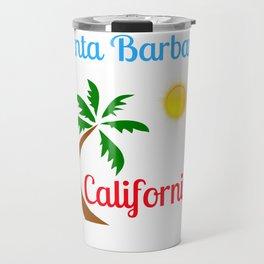 Santa Barbara California Palm Tree and Sun Travel Mug