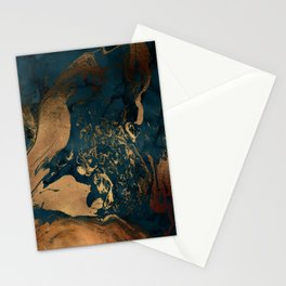 Emerald Indigo And Copper Glamour Marble Stationery Cards