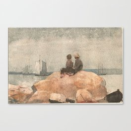 Winslow Homer American, 1836-1910 Two Boys Watching Schooners, 1880 Canvas Print