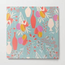 Spring flower pattern, tulips and lilies, 004 Metal Print
