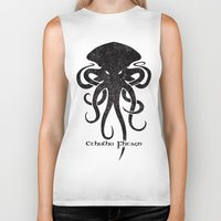 cthulhu Biker Tanks featuring Cthulhu by Hans Mills