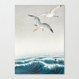 Seagulls over a stormy sea - Vintage Japanese Woodblock Print Art Canvas Print