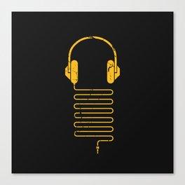 Gold Headphones Canvas Print