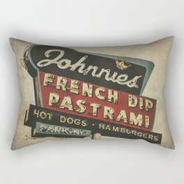 Johnnie's French Dip Pastrami Vintage/Retro Neon Sign Rectangular Pillow