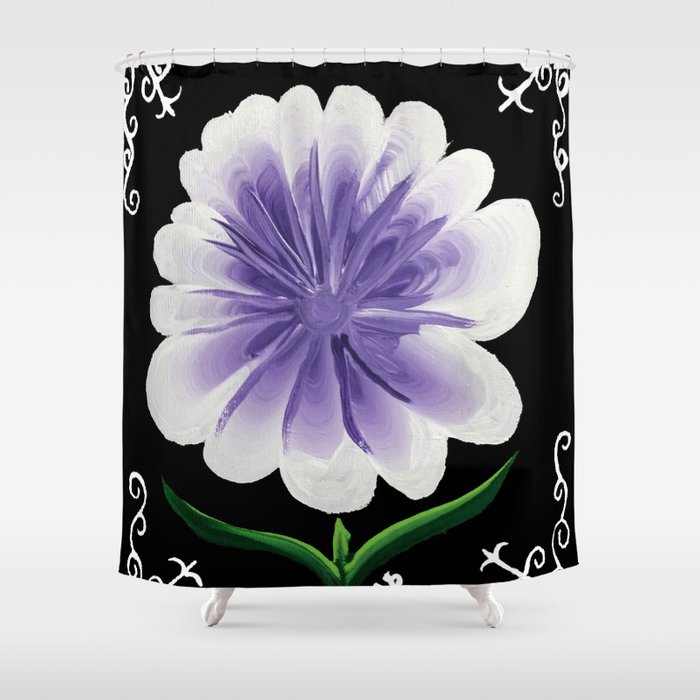 Large Flower Filigree Scroll Floral Art Acrylic Painting Purple Shower Curtain