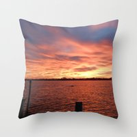 florida Throw Pillows featuring Florida Sunset by minx267