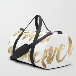 Gold Love Quote Pattern Typography Script Duffle Bag