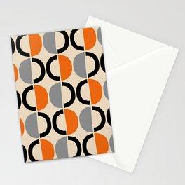 Mid Century Modern Half Circle Pattern 548 Beige Black Gray and Orange Stationery Cards