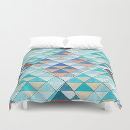 Triangle Pattern No.10 Shifting Turquoise and Orange Duvet Cover