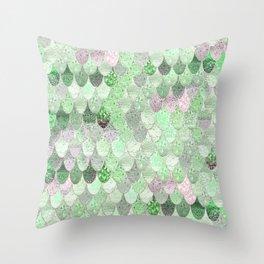 SUMMER MERMAID - GREEN & PINK Throw Pillow