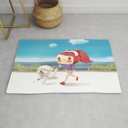 Little girl running with her dog Rug